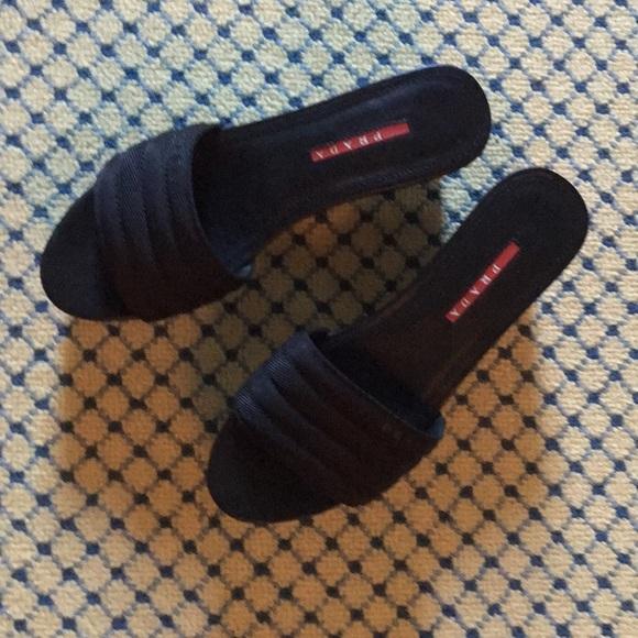 Prada Shoes - Prada beautiful black slides New in box